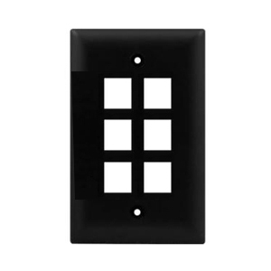 102106BK - 6-Port Keystone Wall Plate - Black