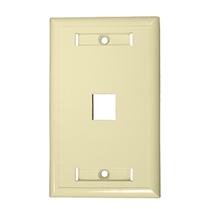 "102121D-IV - 1-Port Keystone Wall Plate with 3/8"" Station ID - Ivory"