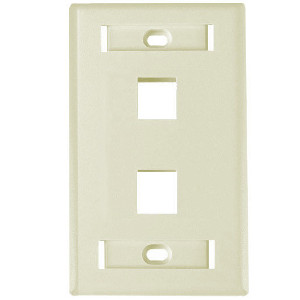 "102122D-AL - 2-Port Keystone Wall Plate with 3/8"" Station ID - Almond"