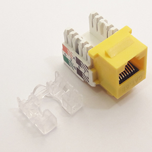 102653YL - CAT5e - RJ45 - Standard Punch Down Keystone Jack Insert - Yellow