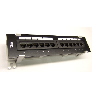 103110 - CAT5e Premium 12-Port Mini Patch Panel w/Bracket