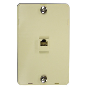 106305IV - 1-Port RJ11 6P4C Hanging Telephone Wall Plate - Ivory