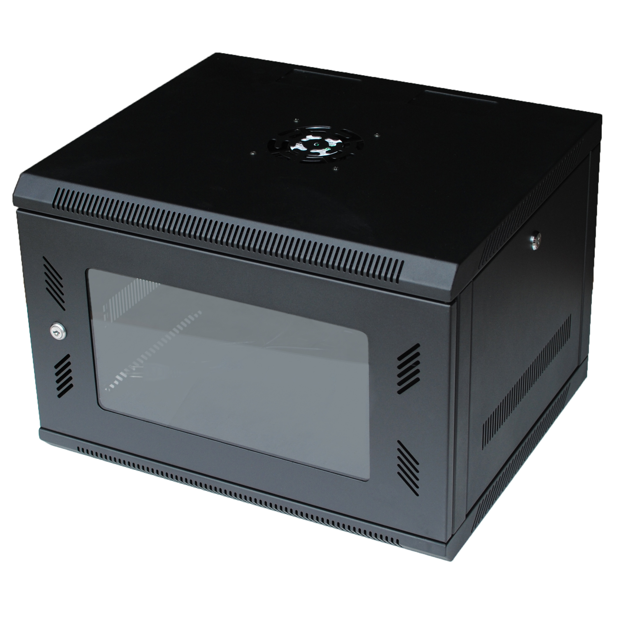 GX 6U Wall Mount Cabinet Rack w Locking Glass Door