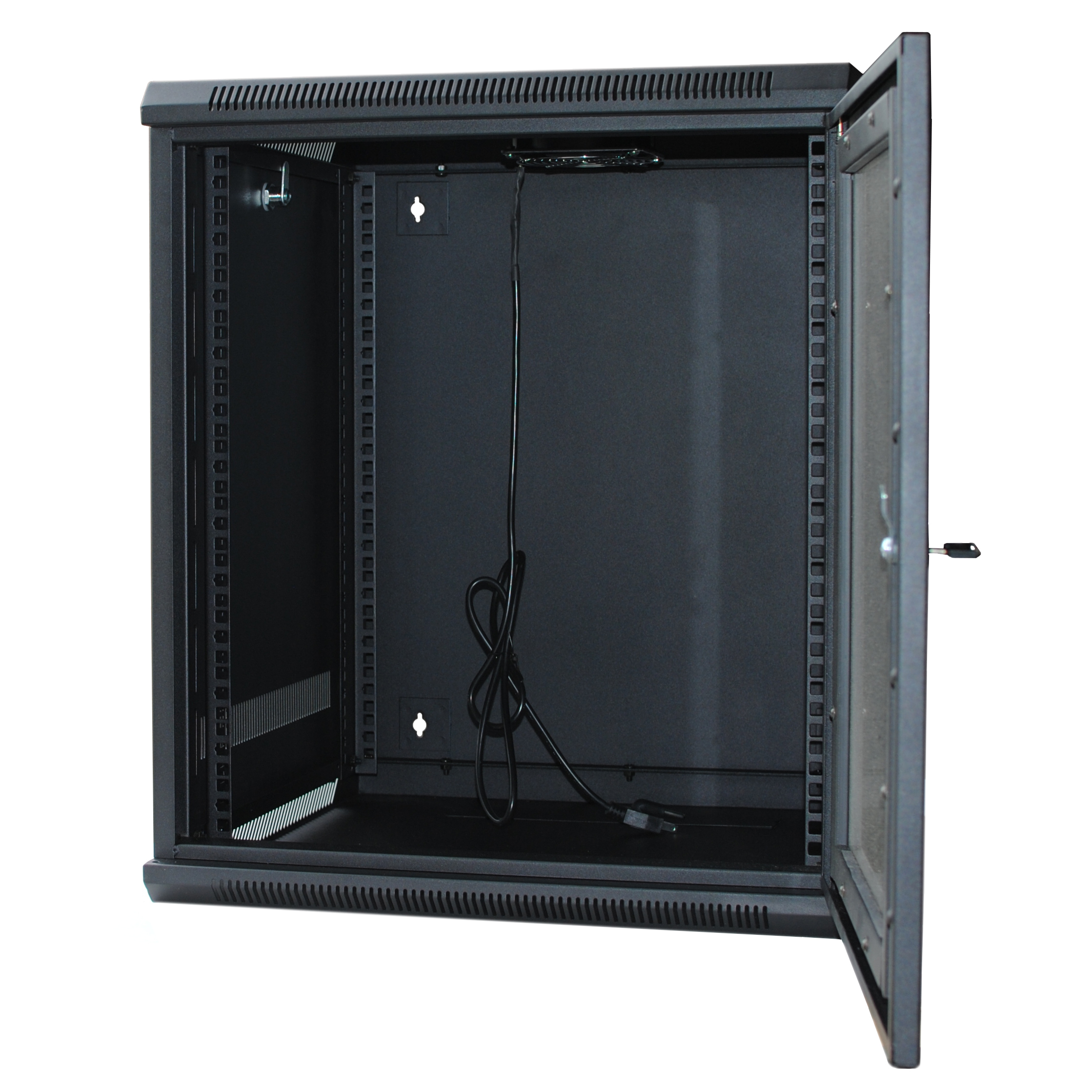 "120284BK - 9U Wall Mount Cabinet Rack w/Locking Glass Door & Cooling Fan - 24"" Deep (Assembly Required)"