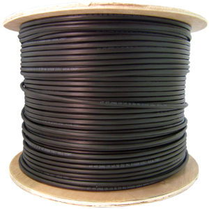 191150BK - CAT5e Outdoor UV Direct Burial Cable, Gel Filled, 350MHz, 4 Pair, UTP - Black - 1000ft
