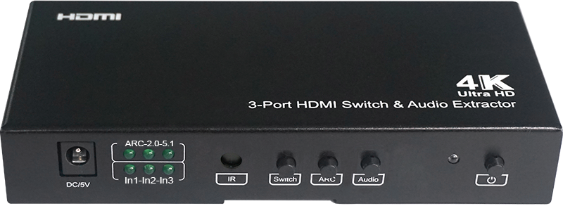301066 - 3x1 HDMI Switch with IR Remote - Supports Audio Extraction, 4K, ARC, CEC, MHL
