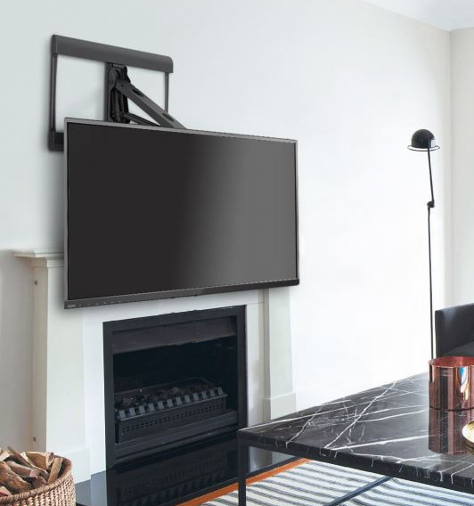 309085bk above fireplace mantel pull down full motion tv - Fireplace tv mount pull down ...