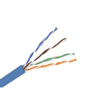 101154BL - CAT5e 350MHz Cable, 4 Pair, UTP, Riser Rated (CMR), Solid Bare Copper - Blue - 1000ft