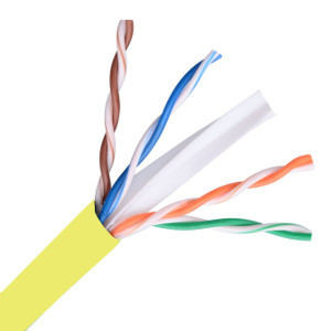 101160YL - CAT6 Cable, 4 Pair, UTP, Riser Rated (CMR), Solid Bare Copper - Yellow - 1000ft