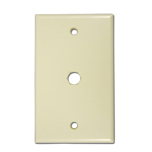 102060-XIV - Coax Pass Through Wall Plate Ivory
