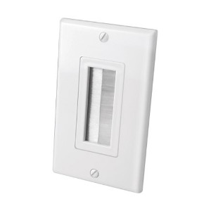 102080WH - Bulk Cable Wall Plate with Bristle Opening - White