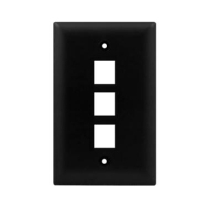102103BK - 3-Port Keystone Wall Plate - Black
