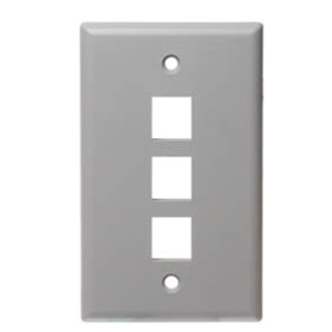 102103GY - 3-Port Keystone Wall Plate - Grey