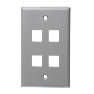 102104XGY - 4-Port Keystone Wall Plate - Grey