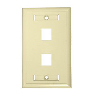 "102122D-IV - 2-Port Keystone Wall Plate with 3/8"" Station ID - Ivory"