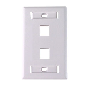 "102122D-WH - 2-Port Keystone Wall Plate with 3/8"" Station ID - White"