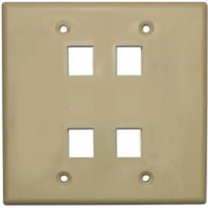 102134IV - 4-Port Double Gang Keystone Wall Plate - Ivory