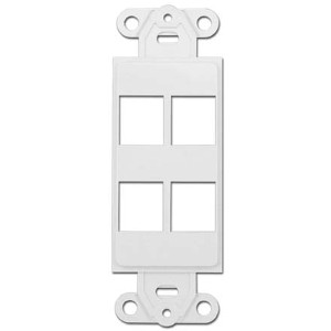 102143-4WH - Decora Insert - 4 Keystone Port - White