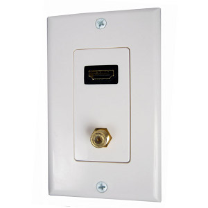 102173WH - HDMI + Coax Wall Plate - White