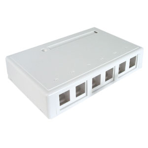 102306D/WH - 6-Port Keystone Surface Mount Box (Suitable for 8-in-a-row Jacks) - White