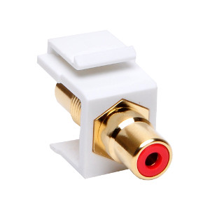 102602WH/RD - Red RCA Keystone Jack Insert - White