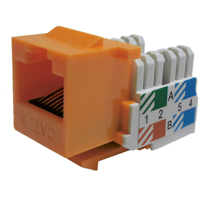 102666OR - CAT6 - RJ45 - Standard Punch Down Keystone Jack Insert - Orange
