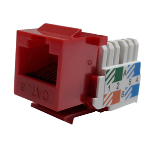 102666RD - CAT6 - RJ45 - Standard Punch Down Keystone Jack Insert - Red