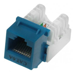 102671BL - CAT6A - RJ45 - 10G Punch Down Keystone Jack Insert - Blue