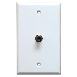 106395WH - 1-Port Smooth 3GHz Coax F-Type Jack Wall Plate - White