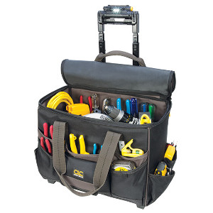 "109550 - Custom LeatherCraft (CLC) - TECH GEAR� LIGHTED HANDLE 17"" ROLLER BAG"