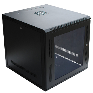 "120054GX - 9U Wall Mount Cabinet Rack w/Locking Glass Door & Cooling Fan - 18"" Deep (Fully Assembled)"