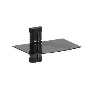 309407BK - Single Wall Mount Glass Shelf for AV Components