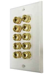 3W1005WH - 5 Speaker Wall Plate