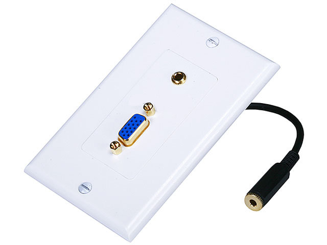 3W2020WH - VGA + 3.5mm Stereo Wall Plate (Gold Plated)