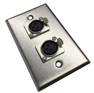 3W3012SS - 2-Port XLR 3-Pin Female Stainless Steel Microphone Wall Plate