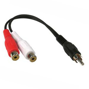 501500/.5BK - RCA Male to (2) RCA Stereo Female Cable - 6 inch