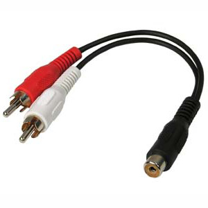 501502/.5BK - RCA Female to (2) RCA Stereo Male Cable - 6 inch