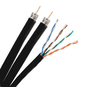 140930BK/500-R - Dual RG6 Quad Shield Coax + CAT5e CMR Composite Cable - Black - 500ft